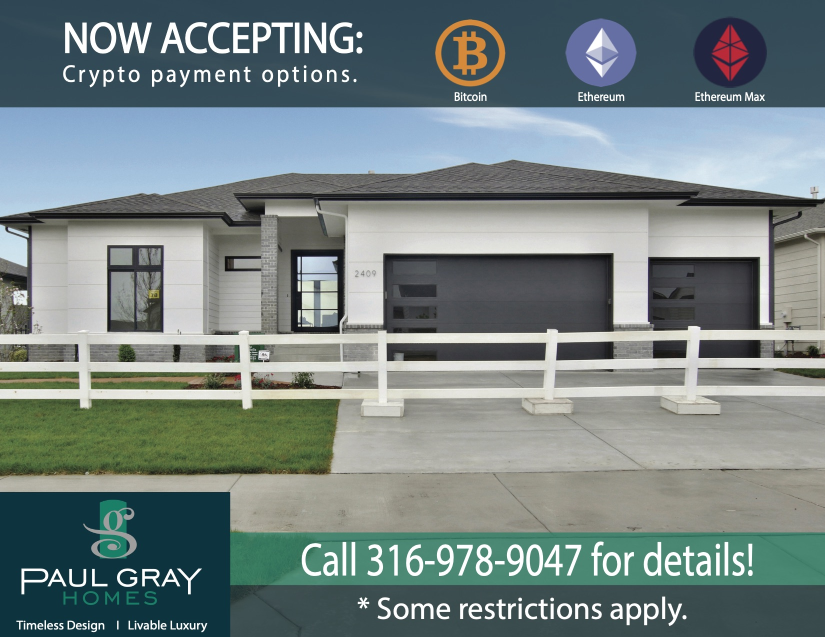 Paul Gray Homes now offers Cryptocurrency payment options